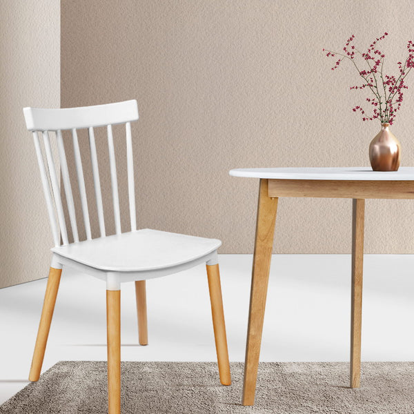 Dining Chairs Replica Kitchen Chair White Retro Rubber Wood Cafe Seat X4