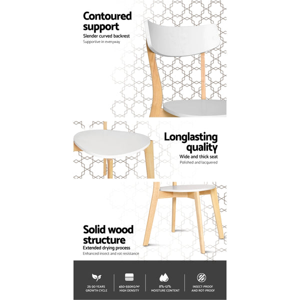 2x  Dining Chairs Kitchen Chair Rubber Wood Cafe Retro White Wooden Seat