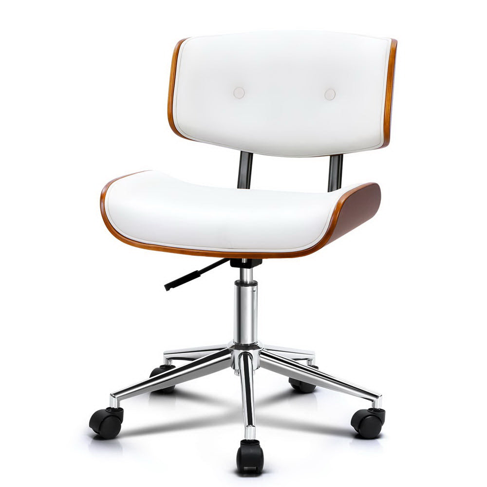 Executive Wooden Office Chair Leather Computer Chairs Seat Bentwood White