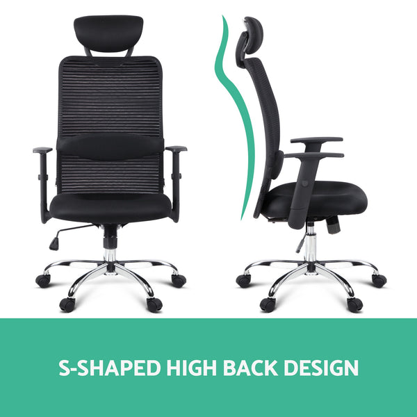 Mesh High Back Office Desk Chair  Black