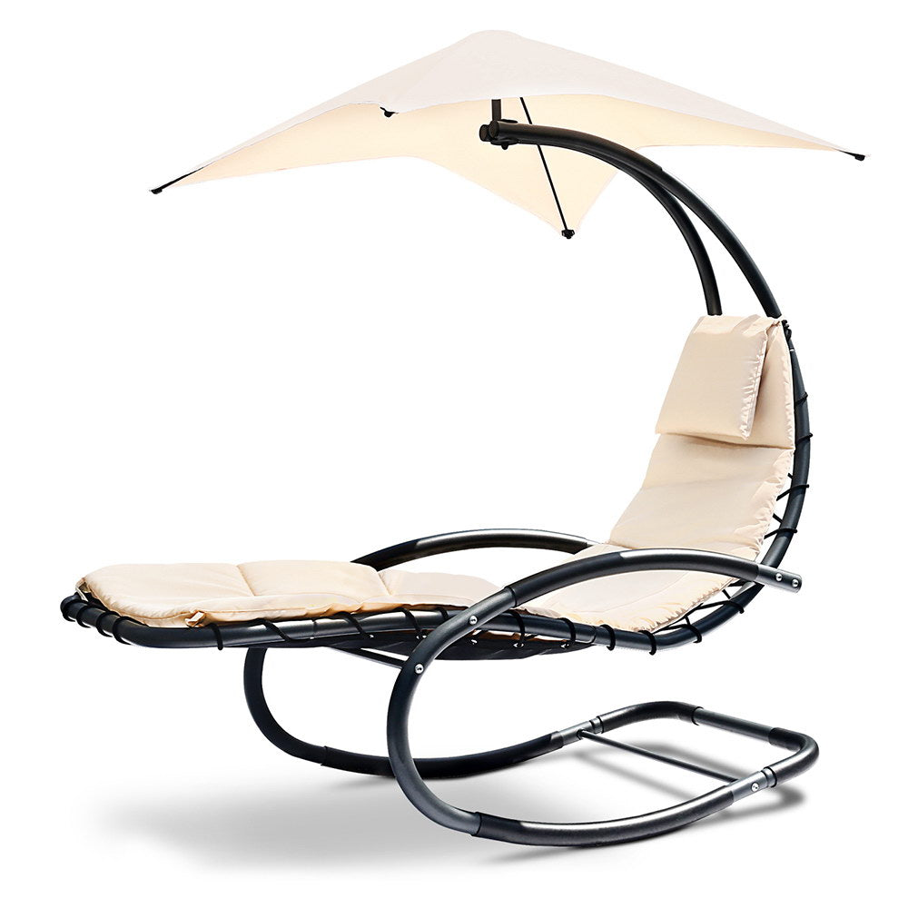 Suspended  Lounge Chair (Black /Beige)- Free Shipping - Darkhorse Creations