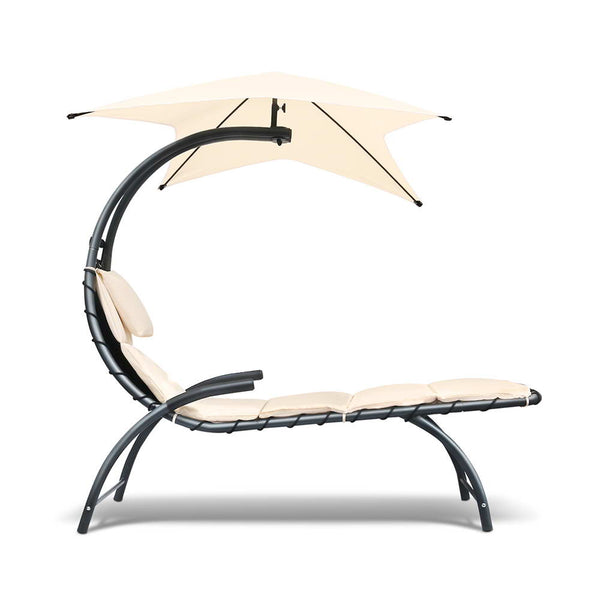 Hanging Lounge Chair (Beige/ Black) - Free Shipping - Darkhorse Creations