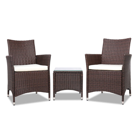 3-piece Outdoor Chair and Table Set Brown - Darkhorse Creations