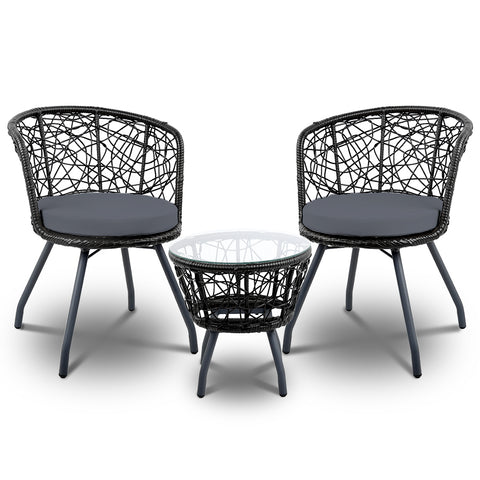 Gardeon Outdoor Patio Chair and Table - Black - Darkhorse Creations