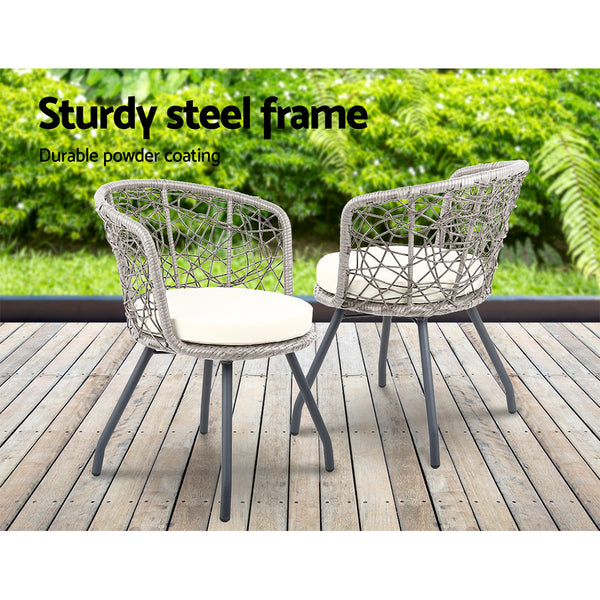 Camelia Outdoor Patio Chair and Table Set (Grey) - Free Shipping