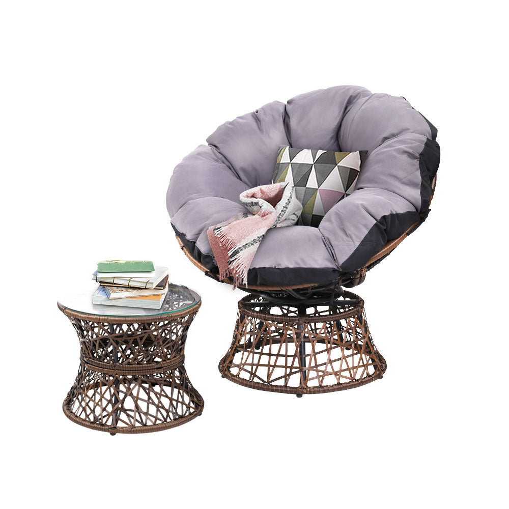 Papasan Chair and Side Table  Brown