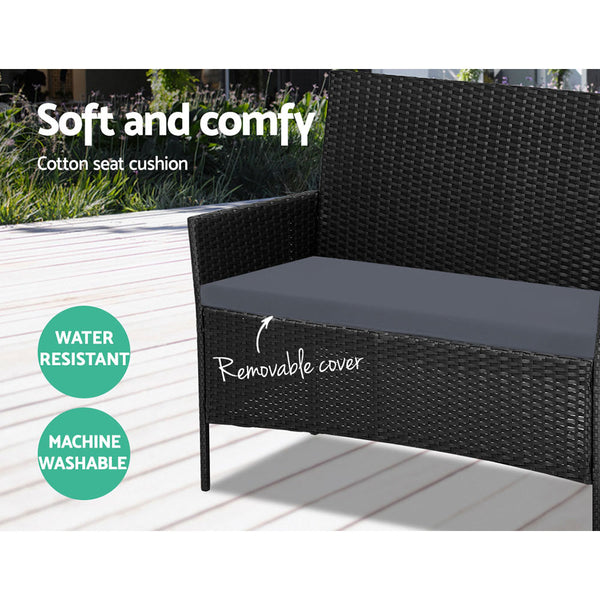 4piece Wicker Outdoor Set  Black