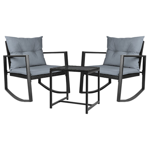 Gardeon Outdoor Chair Rocking Set - Black - Darkhorse Creations