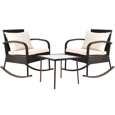 Gardeon 3 Piece Outdoor Chair Rocking Set - Brown - Darkhorse Creations