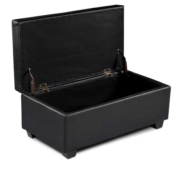 Storage Ottoman Faux Leather Black
