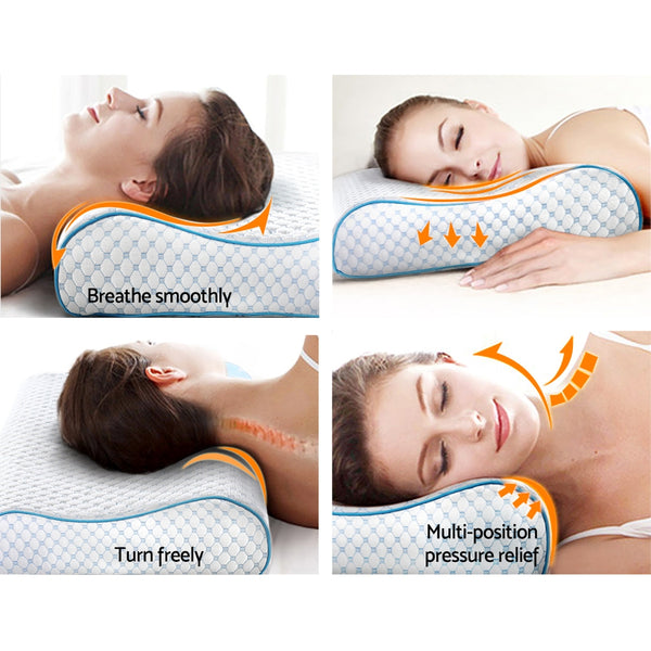 Memory Foam Pillow Ice Silk Cover Contour Pillows Cool Cervical Support