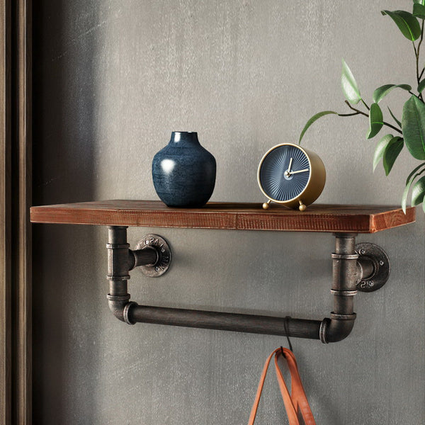 Rustic Industrial Pipe Shelf and Rail Small