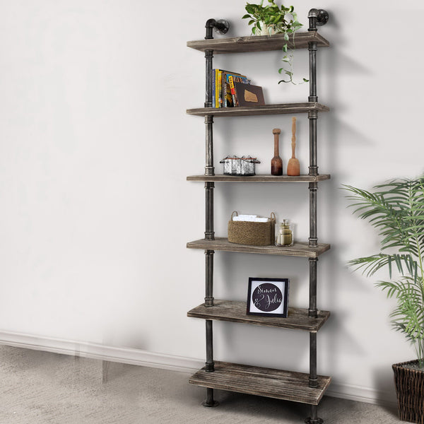 Rustic Industrial 6 Level Pipe Shelf