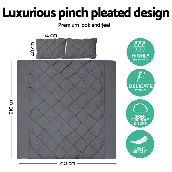 Queen Size Quilt Cover Set - Charcoal