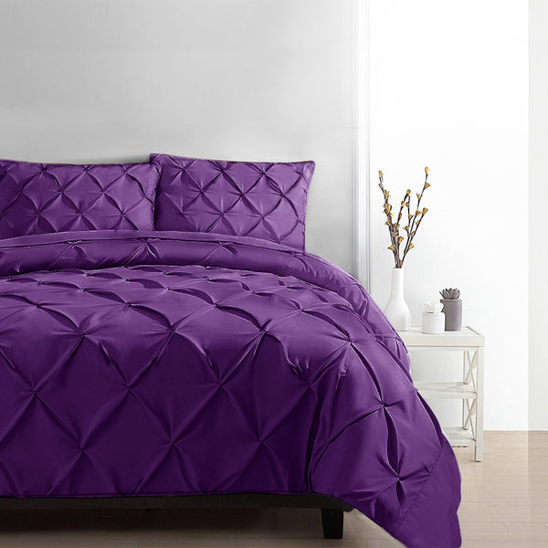 Luxury Classic Bed Duvet Doona Quilt Cover Set Hotel King Purple