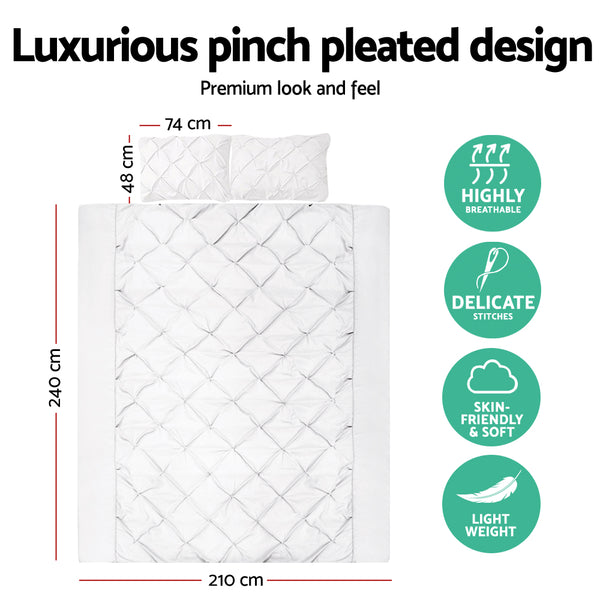 King Size Quilt Cover Set - White