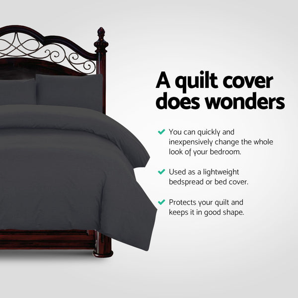 Super King Classic Quilt Cover Set - Black