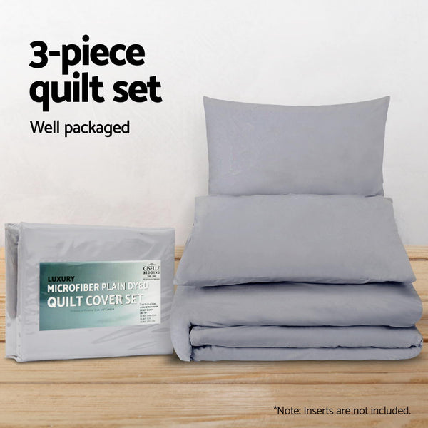Super King Size Classic Quilt Cover Set - Grey