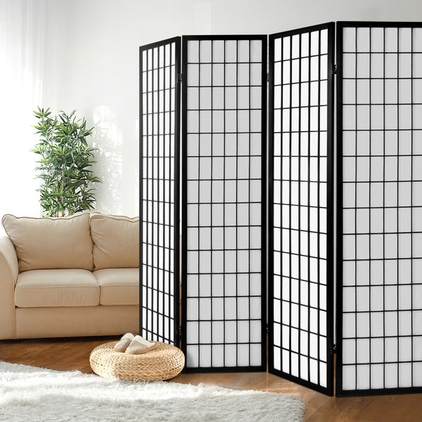Room Divider 4 Panel (Black) - Free Shipping - Darkhorse Creations