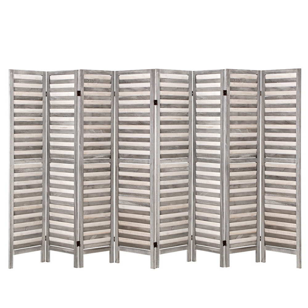 8 Panel Room Divider Screen Privacy Wood Dividers Timber Stand Grey