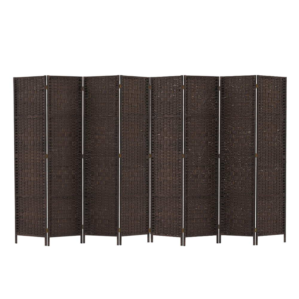 Room Divider 8 Panel Dividers Privacy Screen Rattan Wooden Stand Brown