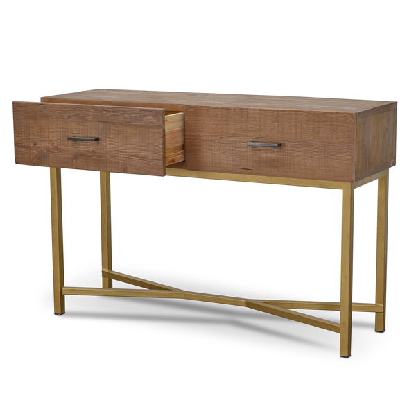 Willem Reclaimed Timber Console Table Natural and Gold