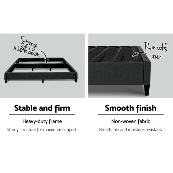 Bed Base Double  Frame Fabric Charcoal