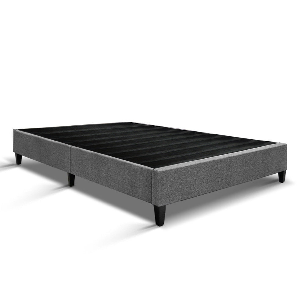 King  Bed Base Frame Mattress Platform Fabric Wooden Grey BRISK
