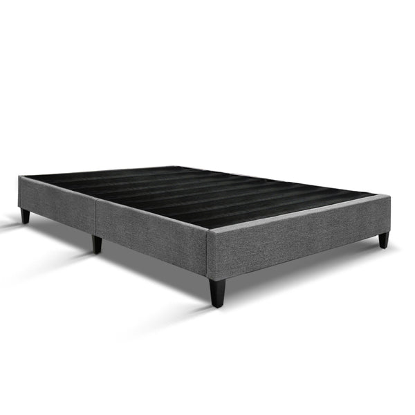 King Single  Bed Base Frame Mattress Platform Grey Fabric Wooden