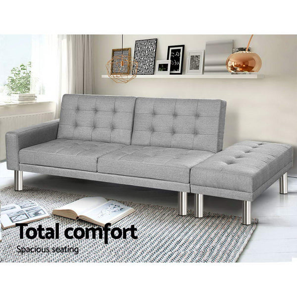 Clayton Fabric Sofa Bed with Ottoman (Grey) - Free Shipping - Darkhorse Creations