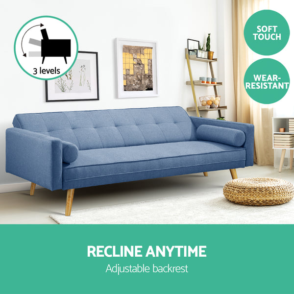 Tyler Linen Sofa Bed Blue