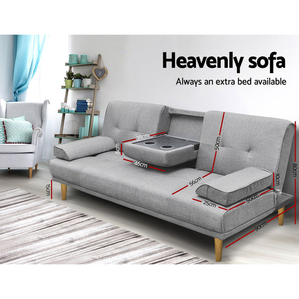 Tyler Linen Sofa Bed grey