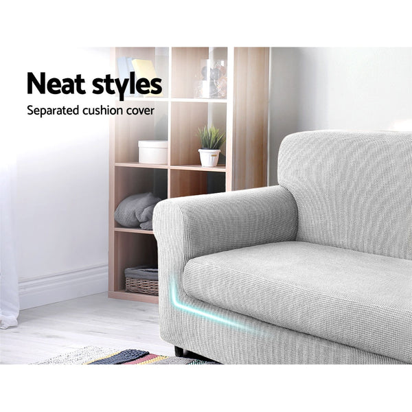 2-piece Sofa Cover Elastic Stretch Couch Covers Protector 2 Steater Grey