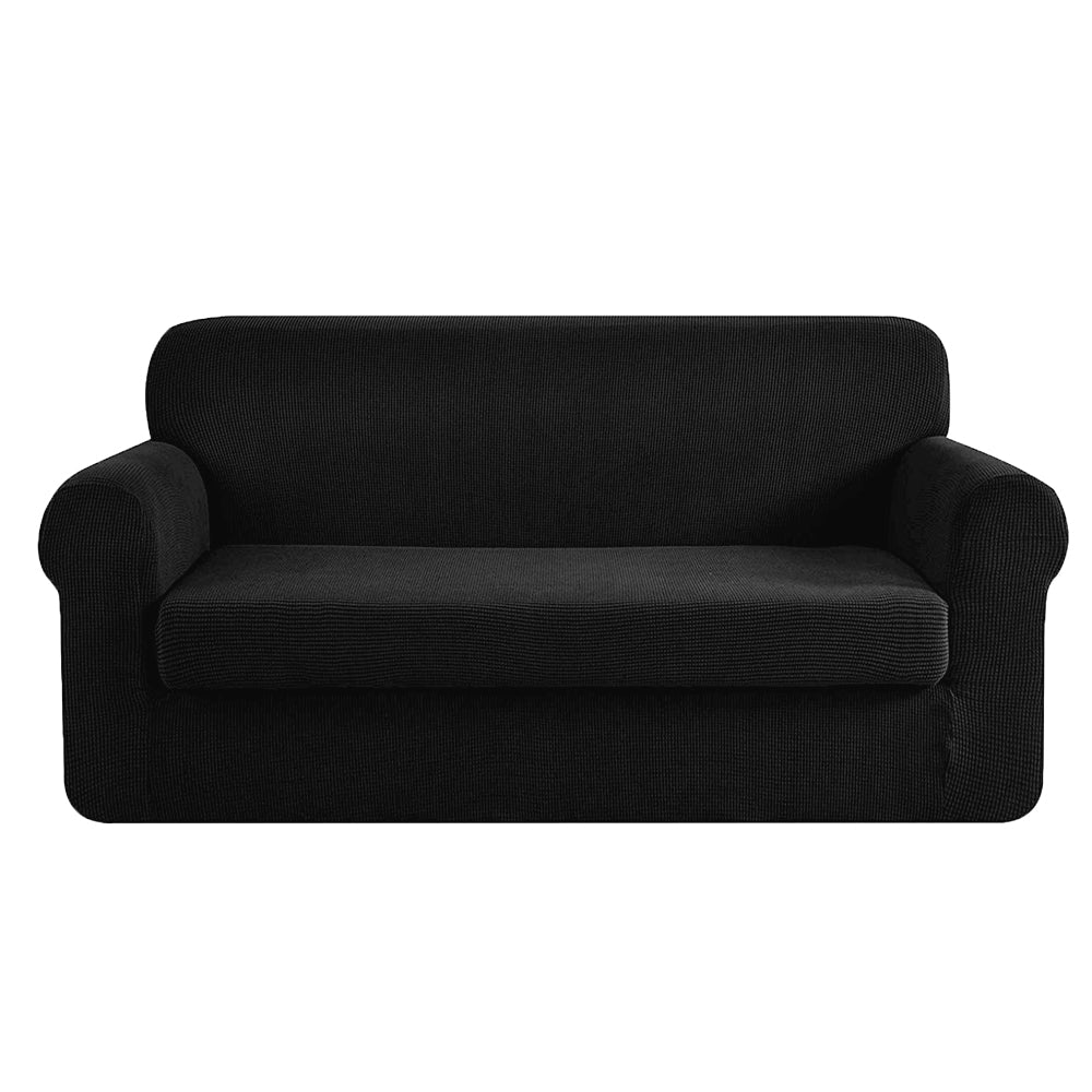 2-piece Sofa Cover Elastic Stretch Couch Covers Protector 3 Steater Black