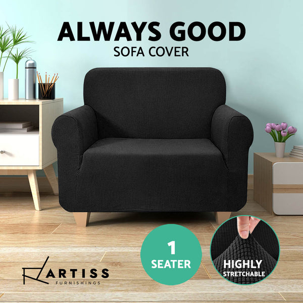 High Stretch Sofa Cover Couch Protector Slipcovers 1 Seater Black