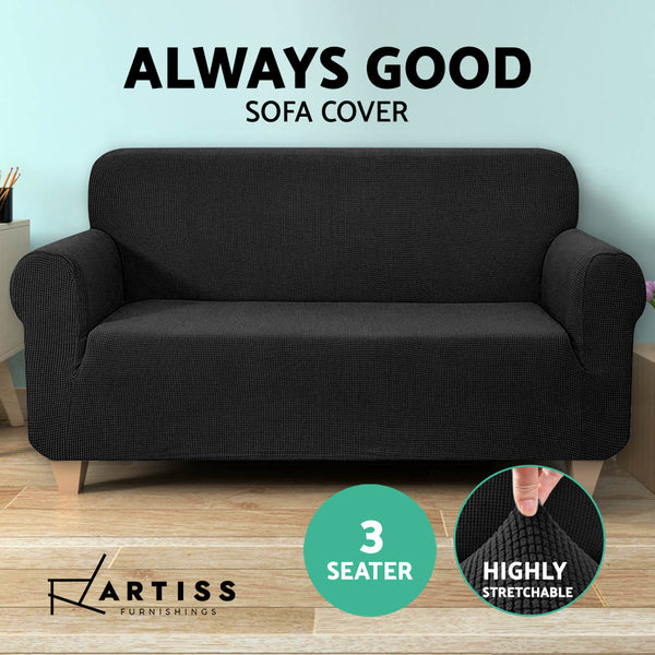 High Stretch Sofa Cover Couch Protector Slipcovers 3 Seater Black
