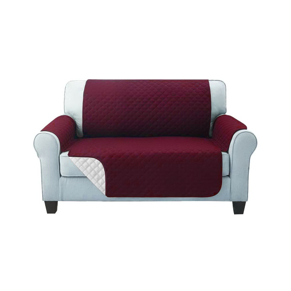 Sofa Cover Quilted Couch Covers Protector Slipcovers 2 Seater Burgundy