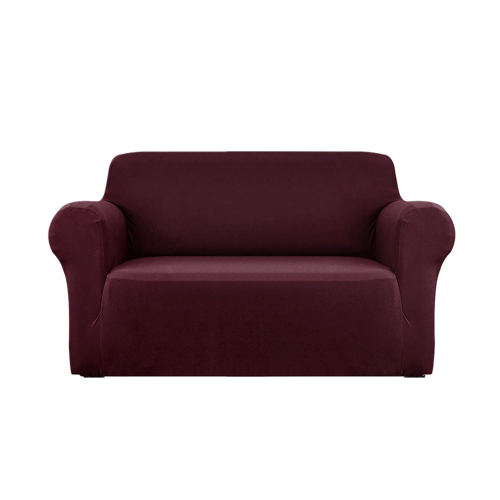 Sofa Cover Elastic Stretchable Couch Covers Burgundy 2 Seater