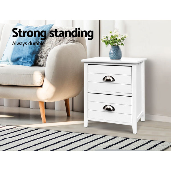 2x Bedside Table Nightstands 2 Drawers Storage Cabinet Bedroom Side White