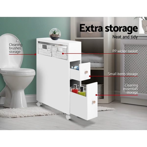 Bathroom Storage Toilet Cabinet Caddy Holder Drawer Basket Wheels White