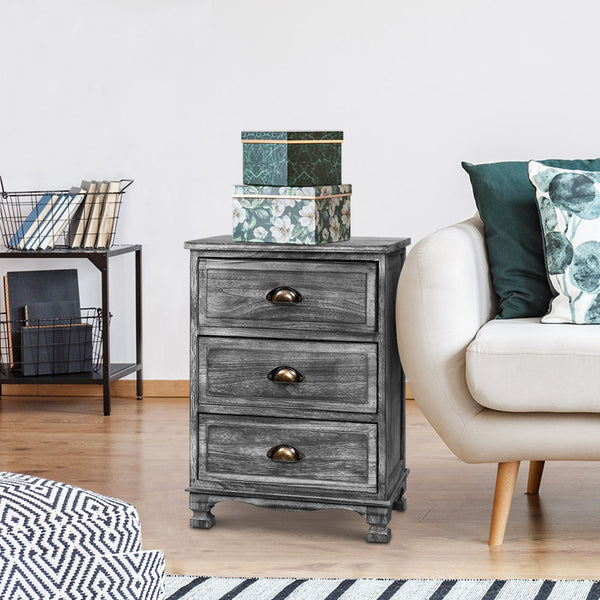 Bedside Tables Side Table Drawers Cabinet Vintage Grey Nightstand Storage