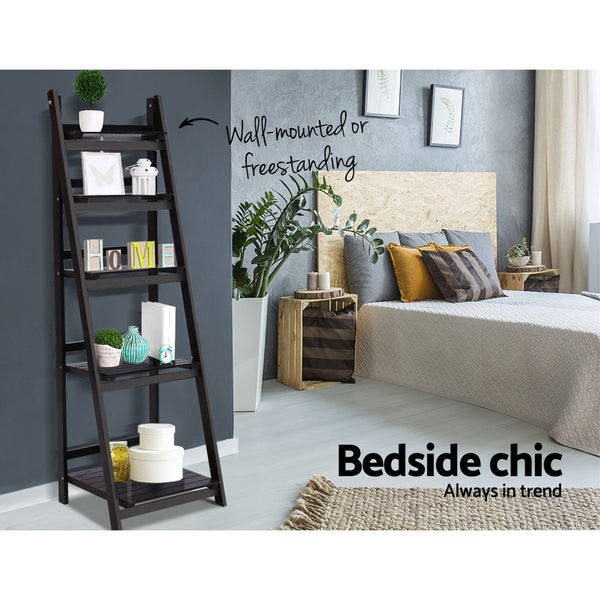 Ladder Shelf 5 Tier (Coffee) - Free Shipping