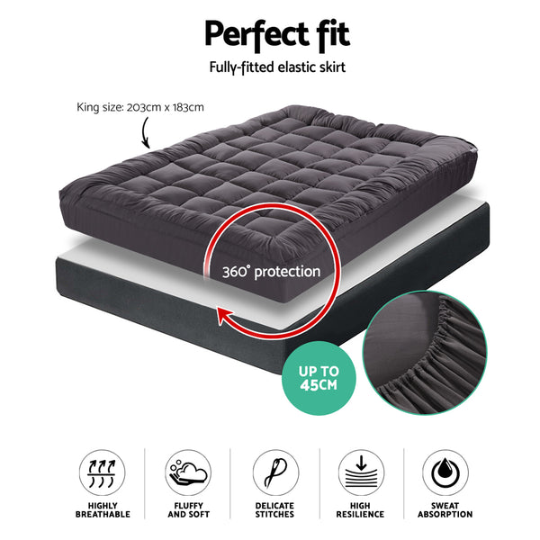 King Mattress Topper Pillowtop 1000GSM Charcoal Microfibre Bamboo Fibre Filling Protector
