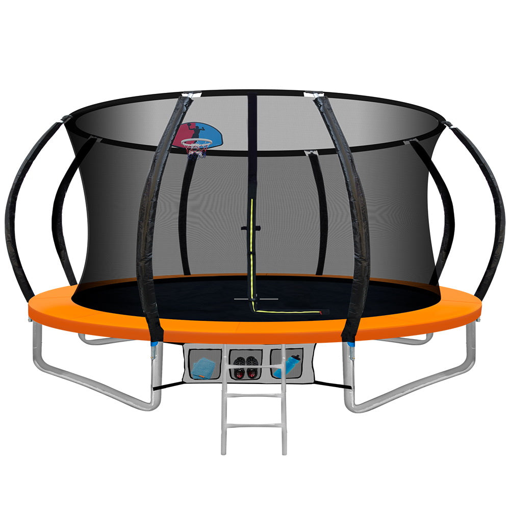 12FT Trampoline Round Trampolines With Basketball Hoop Kids Present Gift Enclosure Safety Net Pad Outdoor Orange
