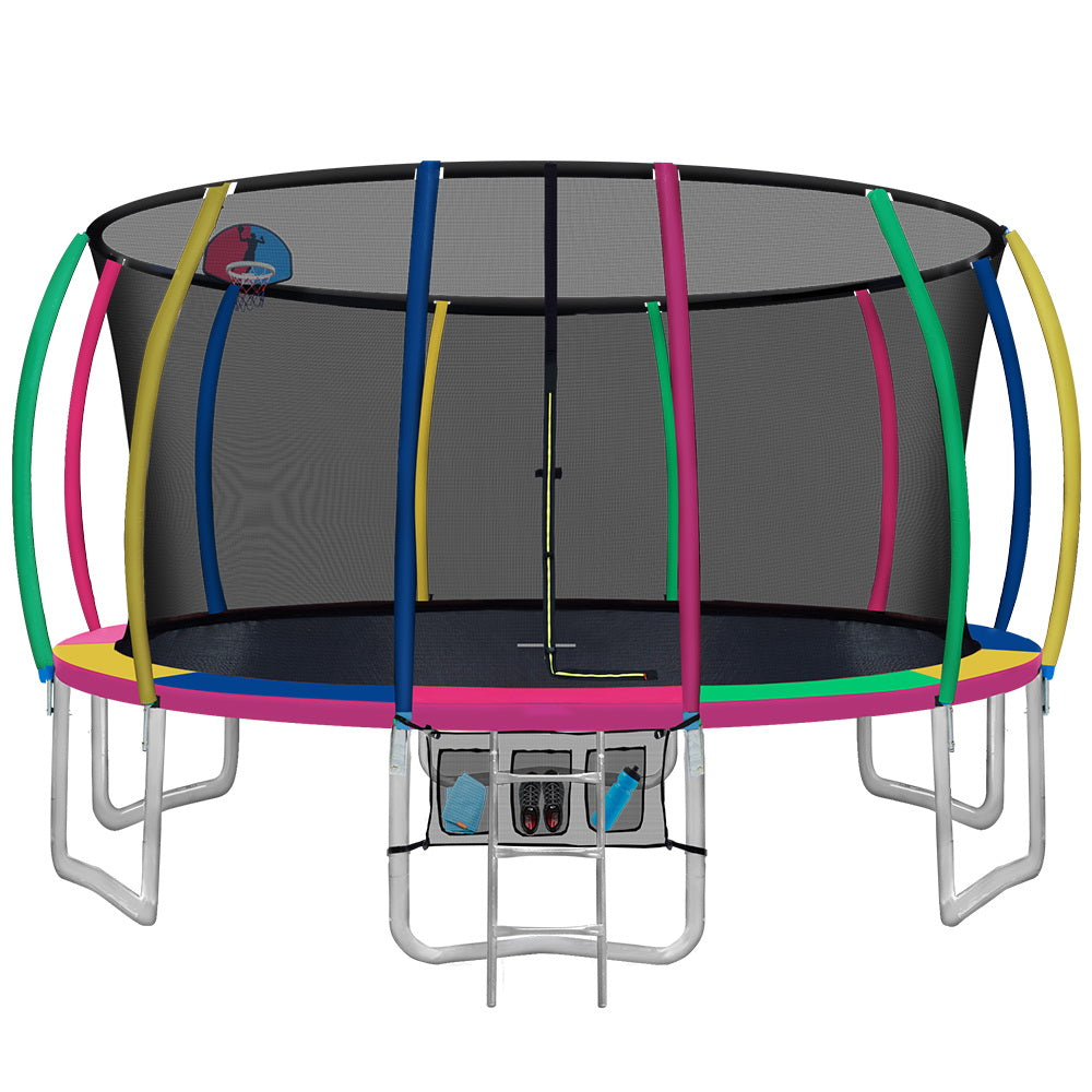 16FT Trampoline Round Trampolines With Basketball Hoop Kids Present Gift Enclosure Safety Net Pad Outdoor Multi-coloured