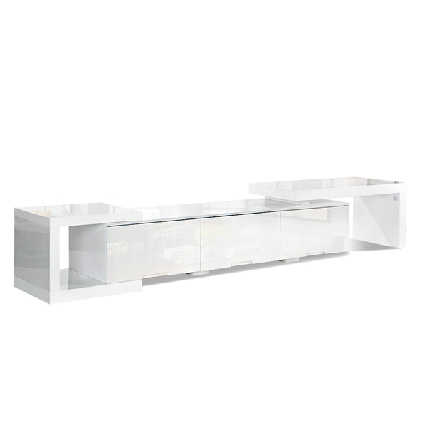 High Gloss Adjustable  Entertainment Unit 290 cm White
