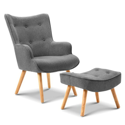 Bowden Armchair and Footstool grey