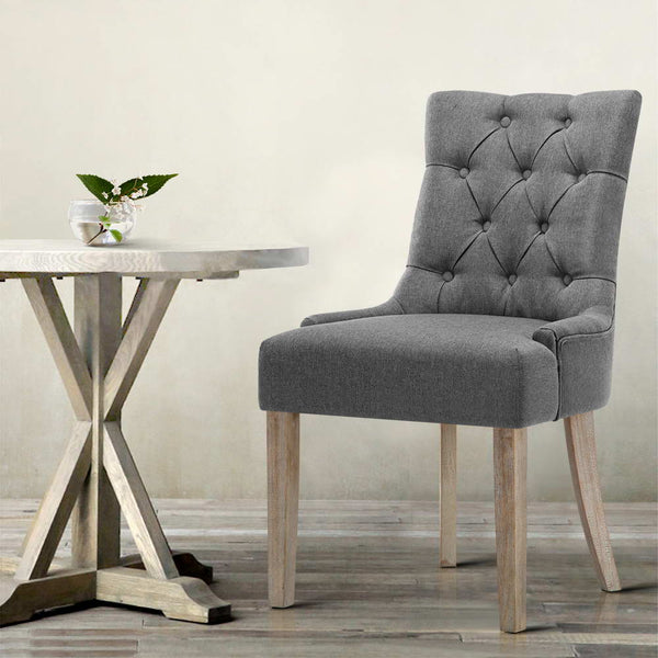 Set of 2 French Provincial Dining Chair grey