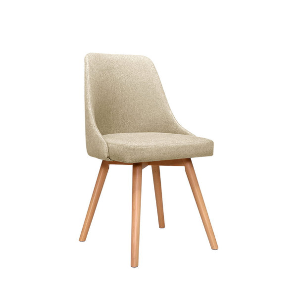 2x Replica Dining Chairs Beech Wooden Timber Chair Kitchen Fabric Beige