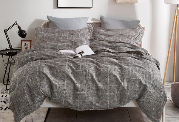 King Size Cotton Grey Rectangle Quilt Cover Set (3PCS)